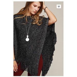 Black Lurex Mix Knit Poncho Sweater NEW